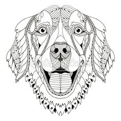 Golden retriever dog zentangle stylized head, freehand pencil, hand drawn, pattern. Zen art. Ornate vector. — Vector de stock