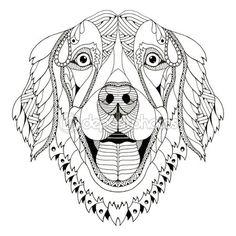 Golden retriever dog zentangle stylized head, freehand pencil, hand drawn, pattern. Zen art. Ornate vector. — Vector de stock