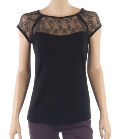 Womans black viscose top, openwork lace yoke at the round neckline and short sleeves.