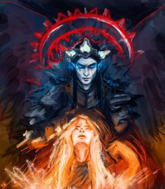 Melkor and Arien. Somewhere read that he wanted her to be his wife, but she refused and escaped by becoming the Sun. Tolkien Books, Jrr Tolkien, Hobbit Art, The Hobbit, Heaven Art, Morgoth, Dark Lord, Middle Earth, Lord Of The Rings