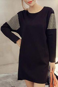 Trendy Scoop Neck Long Sleeve Stud Embellished Irregular Hem Women's Dress