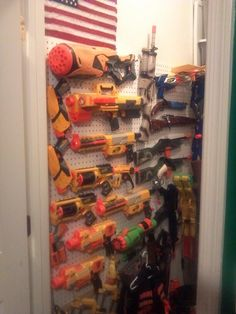 Nerf storage on closet wall