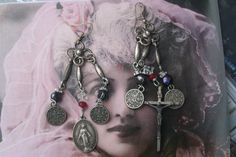 Your place to buy and sell all things handmade Vintage Rhinestone, Vintage Earrings, Unusual Jewelry, Handmade Jewelry, Religious Jewelry, Gothic Jewelry, Chandelier Earrings, Statement Jewelry, Jewelry Making