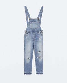 ZARA - NEW THIS WEEK - RIPPED DENIM DUNGAREES