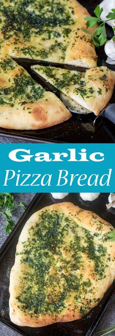 If you've never tried making GARLIC PIZZA BREAD at home you're missing out. This pizza has a crispy and chewy crust with a simple-but-delicious salty garlic and parsley topping!
