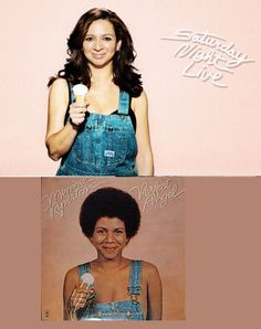 """Maya Rudolph (top photo), actress, comedian, and singer emulating her mother Minnie Riperton's (bottom photo) """"Perfect Angel"""" original album cover. Maya's photograph was taken for Saturday Night Live. She looks just like her mother! My Black Is Beautiful, Beautiful People, Beautiful Ladies, Minnie Riperton, People Of Interest, African American History, Celebs, Celebrities, My People"""