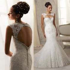 Vestido De Noiva Sereia 2015 Vintage Sexy Backless Mermaid Wedding Dress Lace Bridal Gowns Removable Sleeves W3968