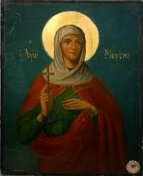 This icon of St. Marina belonged to the ever-memorable priest Fr. To the lower right of the icon is a small piece of re. Religious Pictures, Christian Religions, The Monks, Catholic Saints, Orthodox Icons, Beautiful Words, Mystic, Images, Old Things