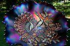Northwood PEACOCKS ANTIQUE CARNIVAL ART GLASS RUFFLED BOWLPURPLESPECTACULAR!