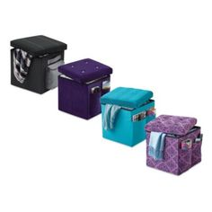$20 at BBBb- exclusive. 15.5 cube. Sit and Store Folding Storage Ottoman - BedBathandBeyond.com