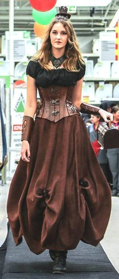 Steampunk long skirt custom made by SteampunkAndFantasy | Smoked Glass Goggles