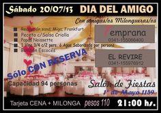 Día del Amigo: Cena + milonga en Rosario