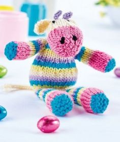 Free Knitting Pattern for Marcel the Bull - This small toy softie is designedby Nicola Valiji.No size is given but I'm guessing by the other objects in the photo that it's about 5 inches tall in DK yarn. The file needs to be unzipped after download.