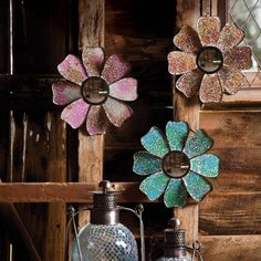 Multi-colored Glass Moasaic Flower Shaped Mirrors