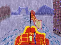 The Queen and Prince Philip on The Spirit of Chartwell in the rain at the Thames River Pageant by David Hockney