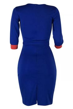Blue Casual Patchwork Slim Knee Length Dress_DRESSES_KnowFashionStyle | Wholesale Shoes,Wholesale Clothing, Cheap Clothes,Cheap Shoes Online. - KnowFashionStyle.com Purple And Gold Dress, Yellow Dress, Blue Dresses, Blazer Dress, Jumpsuit Dress, Long African Dresses, Black Girl Fashion, White Casual, Hot Dress