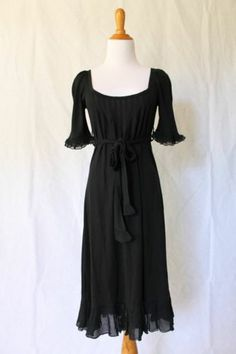 JUICY COUTURE NEW Little Black Dress Peasant Style A-Line Casual Dress Small