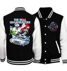 Buy Neon Logo Real Ghostbusters Baseball Jacket Sweatshirt(xxs-4xl) at Wish - Shopping Made Fun Neon Logo, Logo Real, The Real Ghostbusters, Spring Jackets, Wish Shopping, Active Wear For Women, Pink Grey, Sleeve Styles, Baseball