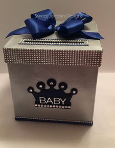 Silver Gold Royal Blue Royalty Card Box Bling Mesh Ribbon Money Holder by SweetJonesin Baby Shower Card Message, Baby Shower Cards, Baby Shower Themes, Baby Shower Invitations, Baby Shower Gifts, Shower Ideas, Royalty Baby Shower Theme, Bling Baby Shower, Shower Bebe
