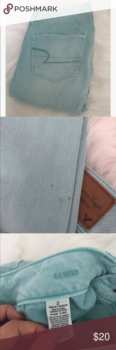 American Eagle Light Wash Teal Skinny Jeans Excellent used condition. Slight stain noted above near bottoms of pants, potentially could come out in the wash. Skinny style, size 2. All sales final American Eagle Outfitters Jeans Skinny