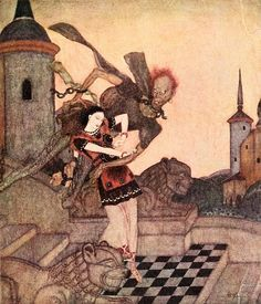 The Prince, looking out, saw him snatch up the Princess ... and soar rapidly away. Edmund Dulac