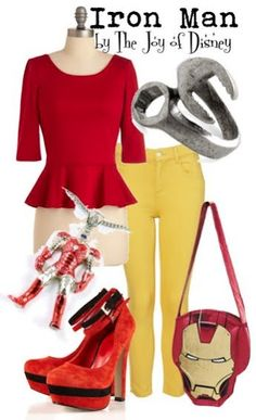 Inspired by: Iron Man (Marvel) Movie Inspired Outfits, Disney Inspired Fashion, Disney Fashion, Black Widow Outfit, Deadpool, Disney Bound Outfits, Disney Dresses, Avengers Outfits, Marvel Clothes