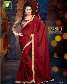 Bollywood Saree Collection -Maroon Colour Satin Chiffon Bollywood Replica Sarees