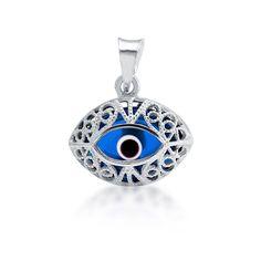 Sterling Silver Blue Evil Eye Pendant