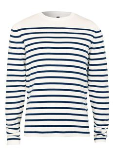 Navy Breton Stripe Crew Neck Sweater