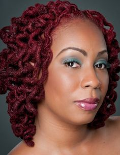 Red curly locs by De lux gallery… | Black Women Natural Hairstyles