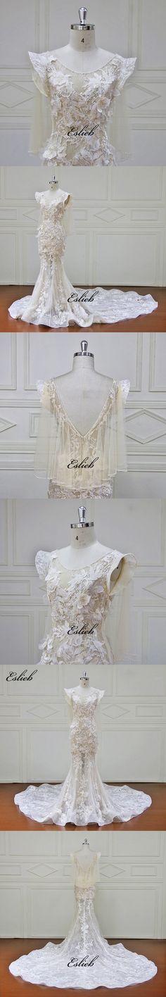 Eslieb High-end Custom made Wedding Dresses Lace Appliques Flower Beading Bridal Gowns Vestido De Novias Wedding Dress XF17082