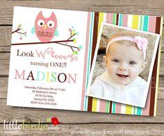 SWEET OWL INVITATION Birthday and Baby by littlebirdieprints, $15.00