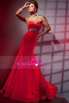 Red Prom Dresses Sweetheart Beaded