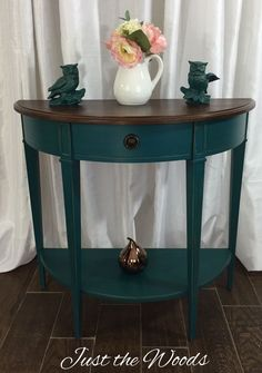 Hand painted deep teal console table with stained top by Just the Woods. Follow this link to get this look with Jade: https://just-the-woods.myshopify.com/products/jade
