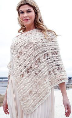 Free Knitting Pattern for Malemute Poncho This ethereal poncho by Emily Nora O'Neil for Berroco uses three alternating yarns to create a soft and beautiful, lace fabric.