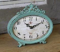 Camden Aqua Vintage Paris Mantle Table Clock