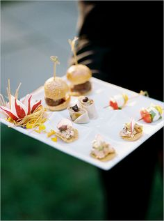 Adorable appetizers at wedding. Have miniature size appetizers to get your guests palette started.