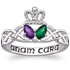 Sterling Silver Couples Marquise Birthstone Claddagh Celtic Knot Ring at Limoges