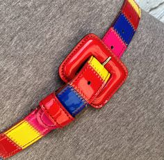 Excited to share this item from my #etsy shop: M 80s Color Block Belt by Carole Little Vegan Faux Patent Leather Primary Color Preppy 90s Streetwear Colorful Power Dress Casual Chic