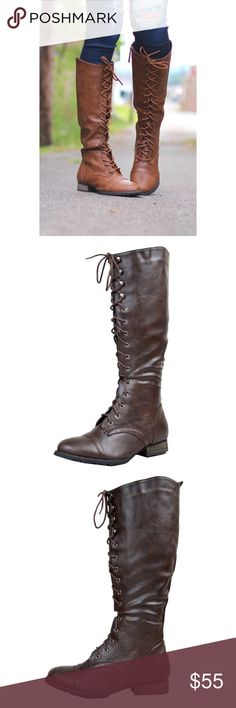 Distressed Brown Tall Riding Boots Tall, country boots come in charming washed brown leatherette and lace-up with silver-tone eyelets and speed hooks. Shaft measures approximately 14.5 from arch. Platform measures approximately 0.5 synthetic. does-not-contain-animal-products. SavedByTheShoes Shoes Over the Knee Boots