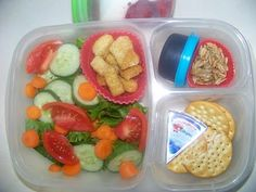 Salad & croutons, salad dressing, sunflower seeds,butter crackers with cheese wedge, homemade strawberry fruit on the bottom yogurt Fruit Salad With Yogurt, Dressing For Fruit Salad, Best Fruit Salad, Fruit Diet, Fruit Salad Recipes, Fruit Snacks, Fruit Smoothies, Best Fruits, Healthy Fruits