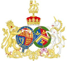 William and Catherine's combined Coat of Arms.  Catherine's full title is Duchess of Cambridge, Countess of Strathearn and Baroness Carrickfergus.