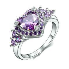 Sterling Silver Stunning Amethyst Heart Ring Sz 6-9