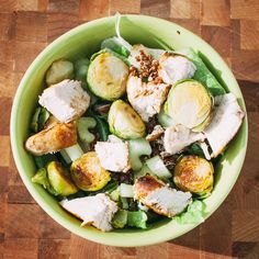 Chicken & Brussels Chopped Salad 1 chicken breast, chopped into chunks 1 ½ cups salad leaves 1 celery stalk, chopped into chunks 1 C cooked brussels sprouts 2 tbs. vinaigrette In a portable lunch container, place salad leaves, leftover brussels sprouts, celery, and chicken. In a small container for salad dressing, store vinaigrette.