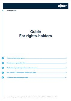 Rights-holders : how to enforce your rights under the .fr TLD - Download the new guide here http://www.afnic.fr/fr/ressources/publications/dossiers-thematiques-4.html