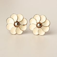 Vintage Barclay OffWhite Enamel Gold Tone by TwiceBakedVintage, $13.00