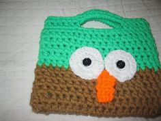 Purse child owl purse green brown lined ready to by simplycrochet1 $12