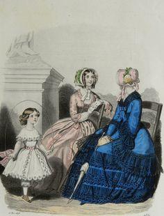 1848 Antique FASHION lithograph Two women by AntiquePrintsOnly, $17.00