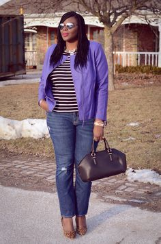 Moto mama! A purple leather jacket, black and white top, leopard print heels and big jewelry. The perfect weekend look. ^CD
