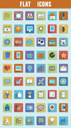 Flat Icons for Design — Vector EPS #internet #design • Available here → https://graphicriver.net/item/flat-icons-for-design/4829694?ref=pxcr